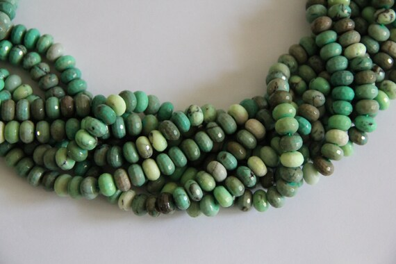 "Green Grass Agate 10x6mm faceted roundel beads 16"" length full strand"