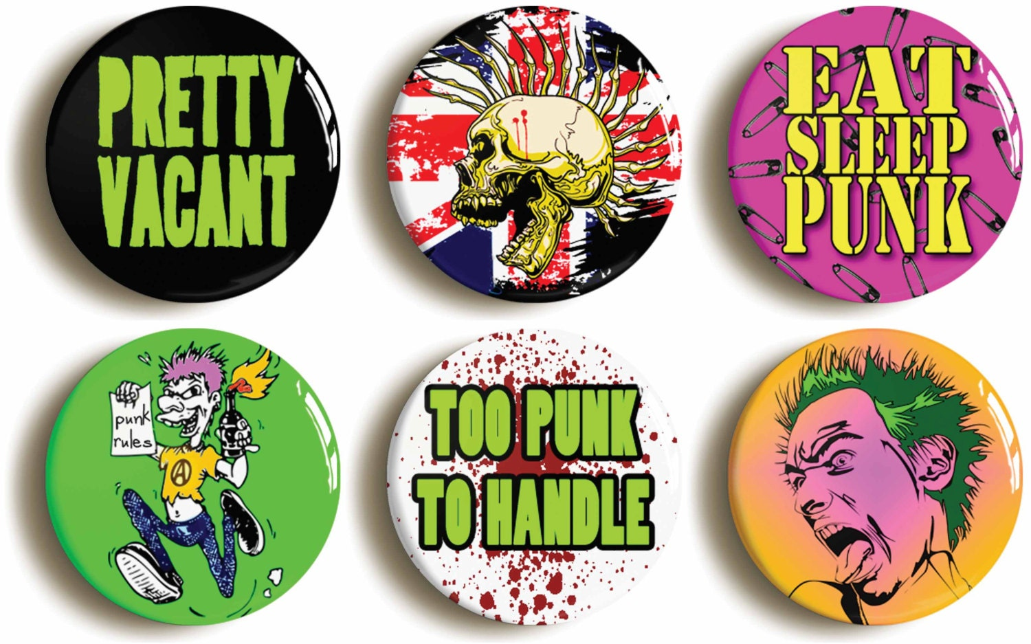 punk rock badges buttons pins set of six pretty vacant. Black Bedroom Furniture Sets. Home Design Ideas