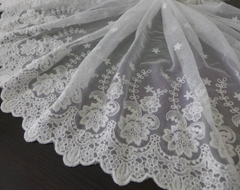 WIDE Off white Lace Trim, Bridal Embroidered Floral Lace, Off white Tulle Lace Fabric Trim One Yard