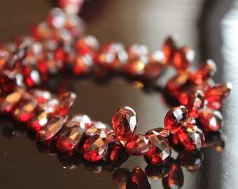 Red Garnet Faceted Pear Briolettes, 6 - 8 mm, 6 beads GM1503FP/8/6 #208