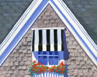 "Block Island coastal cottage - seaside art print, Victorian gable, black & white, red flowers, ""Posy Cottage"""