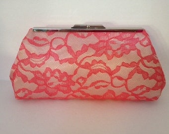 Coral Lace Clutch Purse with Silver Tone  Finish Snap Close Frame