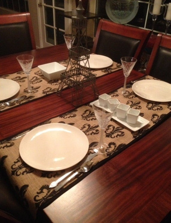 Like this item? & Fleur de Lis Burlap Table Runner Placemat Set French Decor