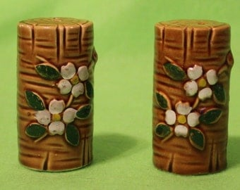 Bamboo stalk and flower salt and pepper shakers