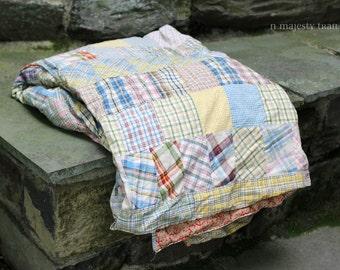 Madras Plaid Handmade Quilt Vintage Multi Color Cotton