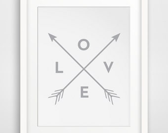 Grey Wall Prints, Grey Wall Art, Grey Printable Art, White Wall Print, Grey Arrows, Love Arrow Printable Home Decor, White Wall Art