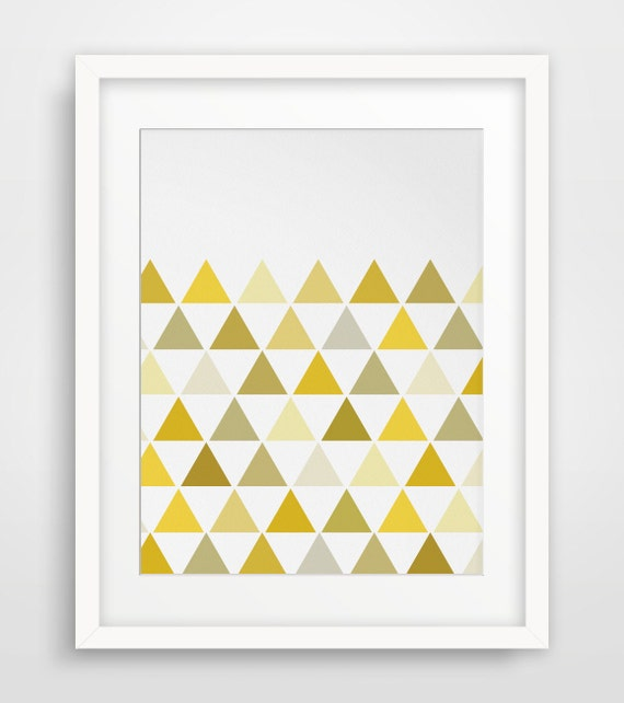 Yellow Art, Yellow Triangle Print, Geometric Print, Geometric Wall Art, Triangles, Mustard Yellow, Yellow Wall Art, Triangle Wall Prints