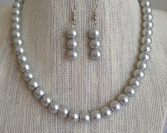 Silver Bridal Jewelry, Womens Jewelry, Silver Pearl Necklace, Wedding Necklace Set, Bridesmaid Gift Idea, Light Gray Necklace, Gift for Her