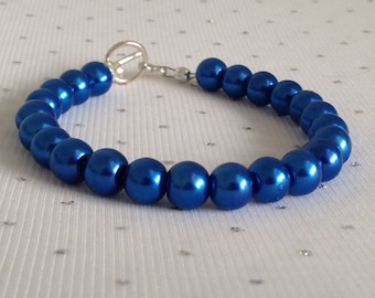 Blue Bridesmaid Wedding Jewelry Blue Pearl Bracelet Blue Wedding Bridesmaid Gift Blue Bridesmaid Jewelry Blue Bracelet