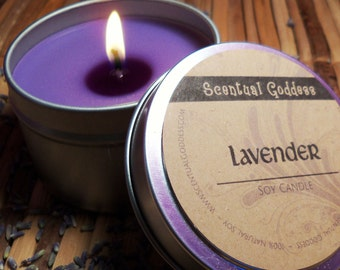 LAVENDER CANDLE - Aromatherapy to Relieve Stress, Sleep Better and Calm Your Mind for Meditation - Relaxing Soothing Scented Soy Candle