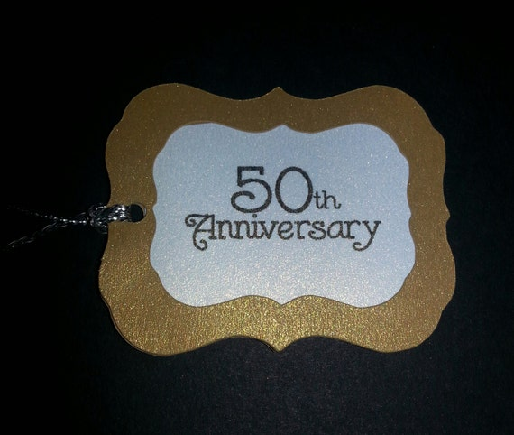 50th Wedding Anniversary Gift Tags : 50th Anniversary Gold Favor Tags by DivineEventGifts on Etsy