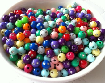 200 pcs 6 mm Mixed Silver Accent Acrylic Beads, mixed Round Bead , mixed Acrylic Bead, Resin Bead,BubbleGum  Bead,  perfect for necklace