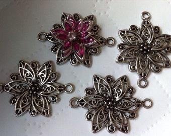 8 pcs Flower Pendant, antique silver Links, 40 mm x 28 mm ( tray ),Cabochon settingTibetan Connector, Links,base setting. nickel free