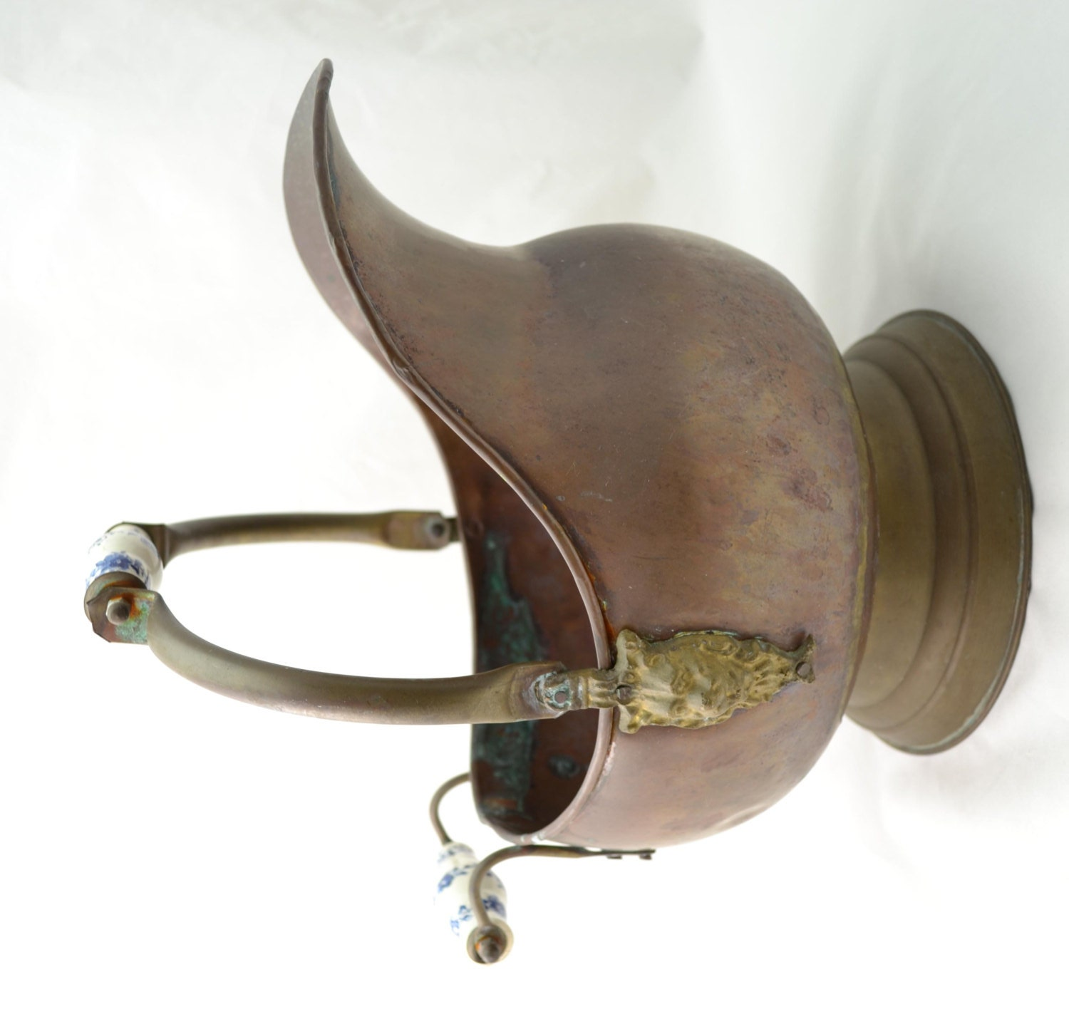 Large Brass Copper Coal Scuttle Bucket With Delft Handles