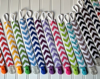 Soothie Pacifier Clips with plastic clip, Chevron Pacifier Clips - Mam Gumdrop Nuk Avent Soothie Binky Clips