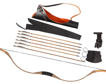 Longbowmaker Combination Set Traditional Archery Brown Pigskin Longbow Recurve Bow 6 Bamboo Arrows 20-80LBS CB13XSYZ