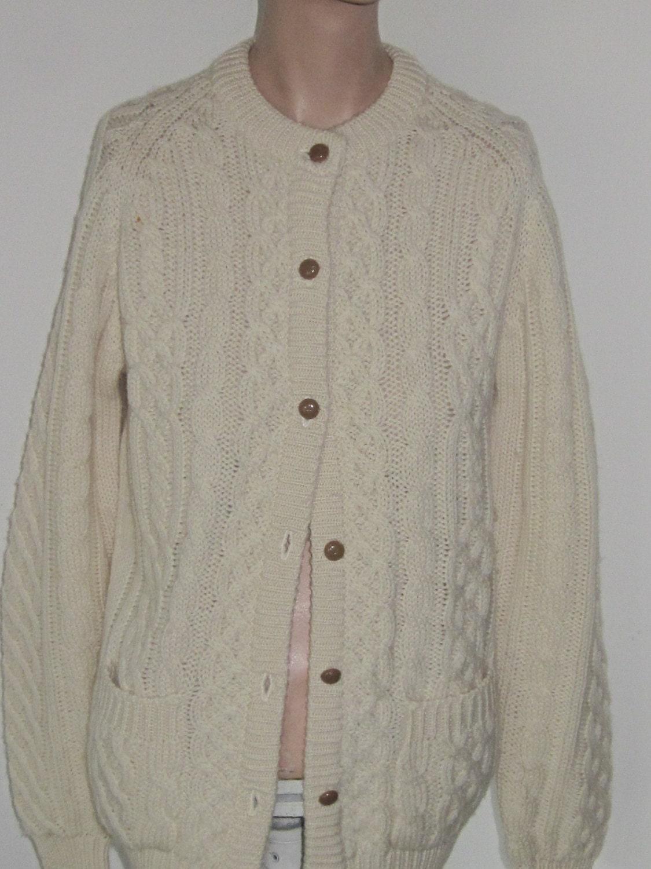 Irish Cable Knit Sweater Patterns : Irish Fishermans CABLE KNIT SWEATER-Cream Vintage