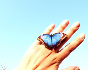 Christmas gift, Blue butterfly ring, Butterfly Jewelry, Butterfly wing ring, Summer jewelry, Insect jewelry
