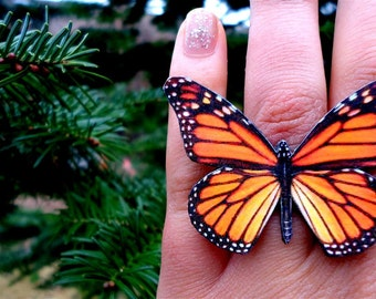 Monarch butterfly ring, Butterfly Jewelry, Butterfly wing ring, Spring jewelry, Insect jewelry, Butterfly ring,