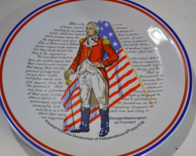 Vintage Souvenir Plate George Washington Red White Blue Collectible Decorative PanchosPorch