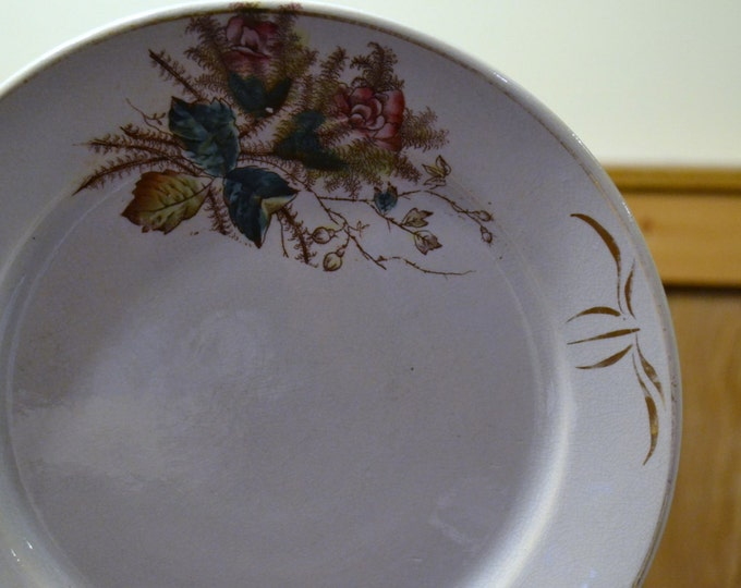Vintage Dinner Plate by Cook and Hancock Teal Pink White Brown PanchosPorch