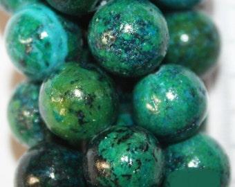 "Chrysocolla Beads - Round 10 mm Gemstone Beads - Full Strand 15 1/2"", 39 beads - Reconstituted"