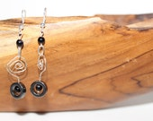 Silver Plated Handmade Metal Black Czech Glass Beads Earrings