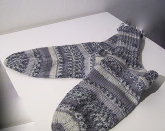 K104 Handmade knitted woollen seamless multi color Grey hand knitted socks - Ready to Ship