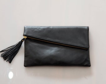Foldover Leather Clutch / Leather Crossbody Bag / Black Leather Foldover  Bag / Fold over Clutch / Foldover Handbag / Leather Handbag