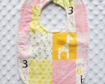 Baby Girl Patchwork Bib // Patchwork Bib // Yellow and Pink Patchwork Bib // Baby Girl Bib // Baby Girl // Flower Bib // Giraffe Bib