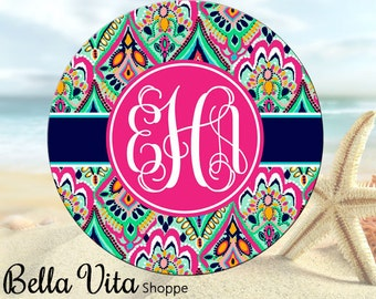 """Pretty Floral Jewels Monogrammed Mouse Pad - Personalized - 8"""" Mouse Pad - Round or Rectangle"""