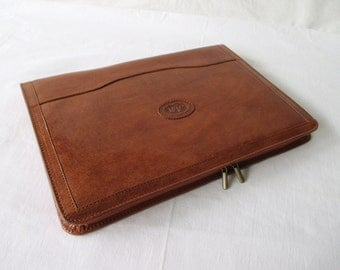 Leather portfolio, vegetable tanned cognac leather, handmade compendium, Surface Pro 3, iPad Pro, Galaxy Tab cover