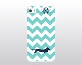 Dachshund iPhone Case - Dog iPhone Case - Aqua Chevron iPhone Case w/ Navy Blue Doxie - Monogrammed Gift for Dog Lover