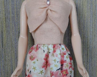 One-of-a-Kind Ensemble in Peach Floral Japanese Print for Barbie