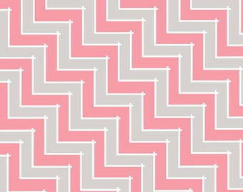 CLEARANCE - Sweet Harmony Pink Chevron by Amy Hamberlin of Kati Cupcake Designs for Henry Glass, 1/2 yard, 9599-92
