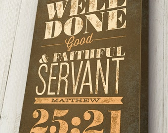 Personalized Life Verse, Matthew 25:21, Life Verse for Retirement Gift, Personalized Canvas Typography Art on solid wood frame