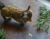 mini felted fox. tiny needle felted wool red swift fox. realistic woodland animal gift. brown white neutral. fall winter natural decor