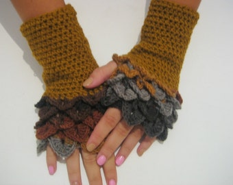 women fingerless dragon scale gloves Wrist Warmers Arm Warmers  Women Accessory winter accessory handmade fingerless Arm Warmers Mitts,