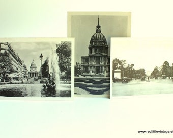Paris Photos-  Paris Photo Sets, Set of Three Small Original Prints Paris Vintage B&W Photograph, Vintage Photography, Arc de Triomphe,