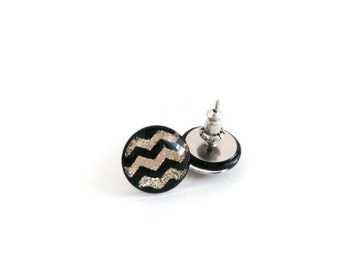 NEW Sparkly Gold and Black Chevron earrings- Zig Zag earrings- Geometric jewelry- Gold and Black