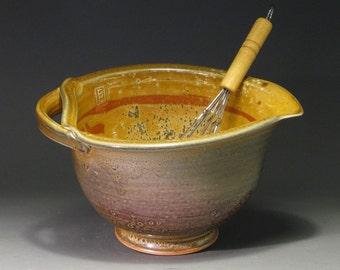 Ceramic batter bowl with whisk,  gold shino glaze