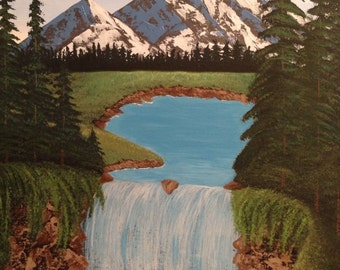 Mountain painting,waterfall painting,16x20 ,pine tree painting,landscape painting,mountains,waterfall,canvas art,