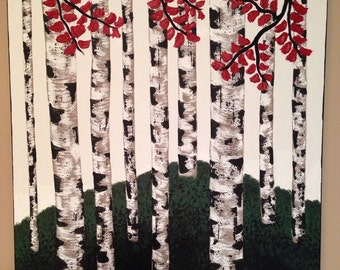 Half off sale,birch tree painting,18x24,tree painting,landscape painting,forest painting,green painting,red painting, birch,canvas art
