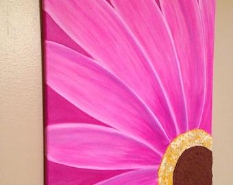 Gerber daisy painting,gerber daisy,pink flower painting,textured flower,textured painting,16x20,canvas art
