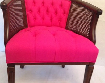 SOLD- CAN REPLICATE Pink Tufted Linen Cane Barrel Chair