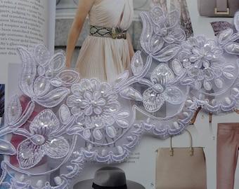 Ivory Lace Trim, Beaded Alencon Lace, Sequin Lace Trim, Wedding Gown Lace, Bridal Veils