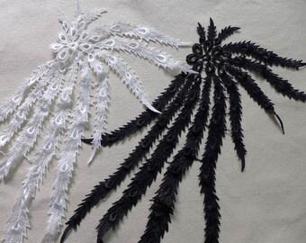 Bridal Venise Lace Applique, Black Lace Appliqué, White Applique, Jewelry Supply, Costumes, 2 Pcs