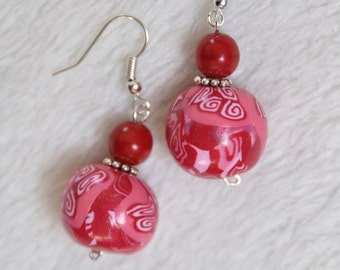 earrings red round  patterns millefiori