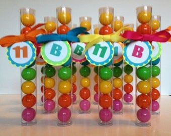 Pretty Neon Bright Party  with Initial and Age Gumball Tube Party Favors, Set of 12, with Tags and Ribbon