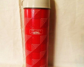 Icy Hot Thermos- Quart Size- King Seeley Thermos Co.- Retro Classic Thermos- #2410- Picnics- Coffee- Glass Lined-Vintage Beverage Container